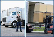 Man loading semi trailer